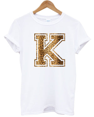 K Leopard Top T Shirt Graphic Logo Printed Text Hipster Tumblr Shop Apparell , Main Colour White