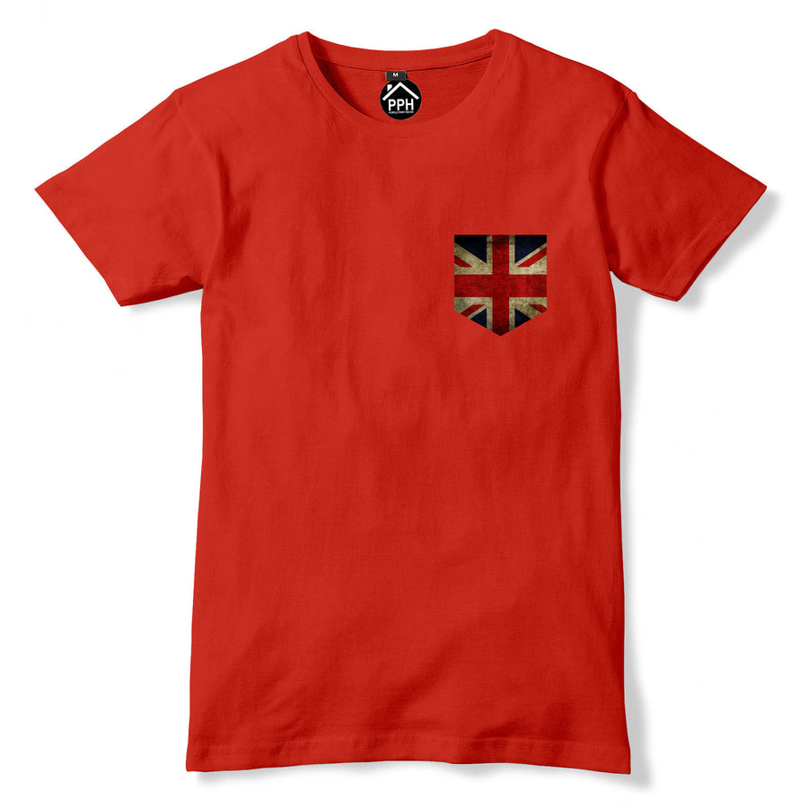 Vintage Print Pocket UK Britain Flag T Shirt Mens Womens Brexit Tshirt New 263