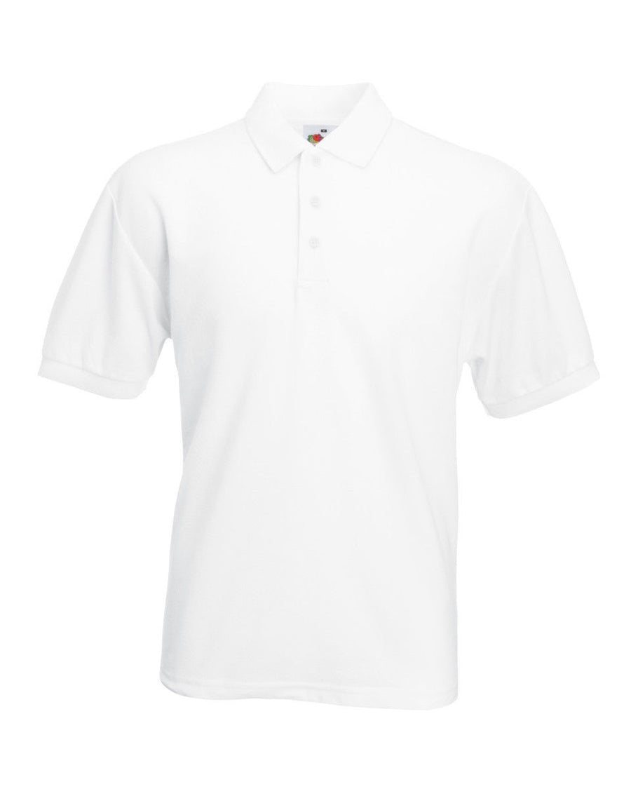 MENS FRUIT OF THE LOOM POLO T SHIRT 65/35 PLAIN PIQUE TOP NEW FOTL CHEAP WORK
