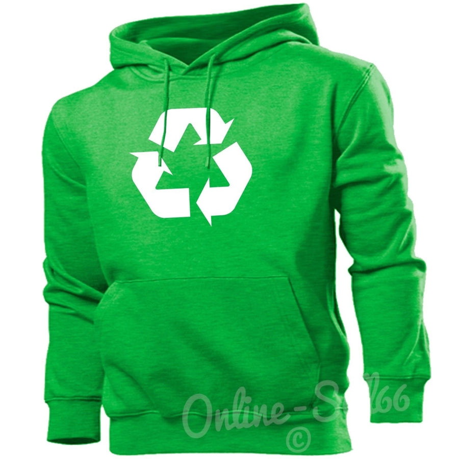 Recycling Environment Funny Geek Hoodie Promotion Top Waste Rubbish Hoody Sweat, Main Colour Irish Green