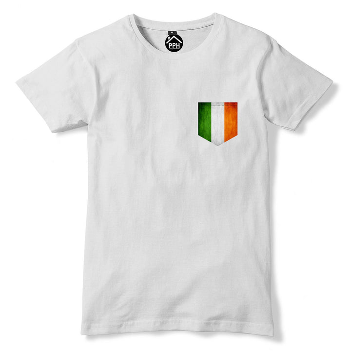 Vintage Print Pocket IRELAND Flag Tshirt Gaelic Patricks Football T Shirt 314