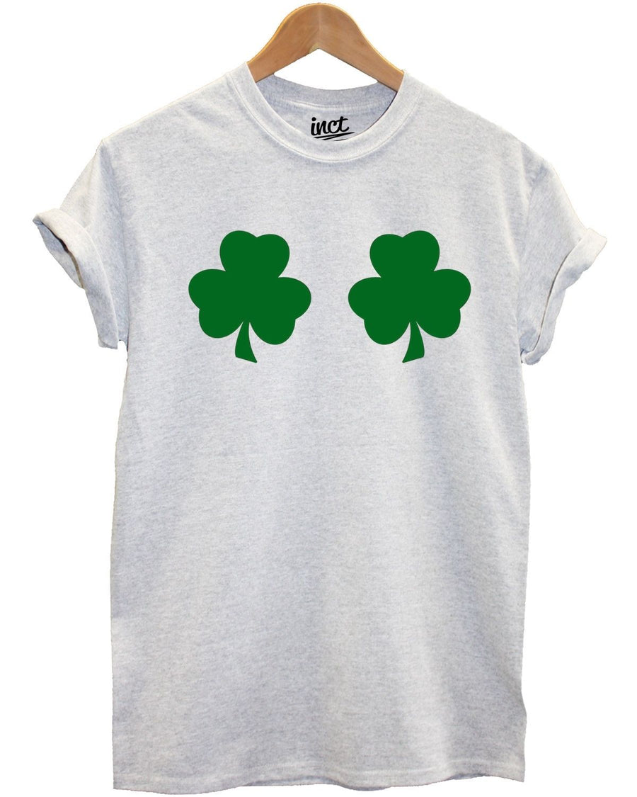 Shamrock Boobs T Shirt Leprechaun St Patrick's Day Funny Women Girl Joke Irish , Main Colour White