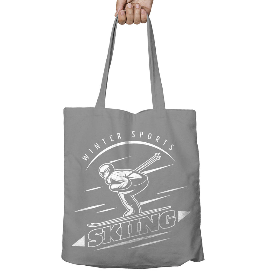 Winter Sports Skiing Shopper Tote Bag Ski Snowboard Shopping Holiday Gift 491