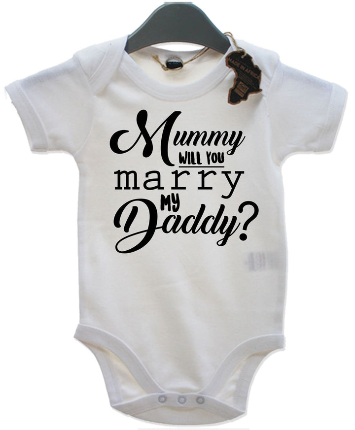 Mummy Will you Marry My Daddy Babygrow Vest Proposal Marriage Engagement EBG13