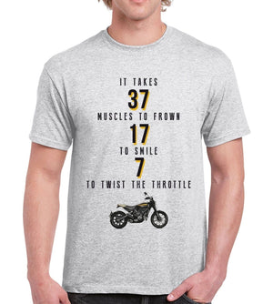 7 Muscles to twist Throttle Mens Funny Motorcycle T SHIRT Vintage Motorbike Cafe