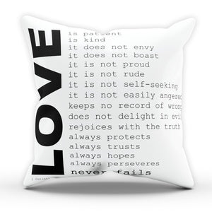 Corinthians Love Bible Pillow Cushion Pad Cover Case Bed Home Family Religion