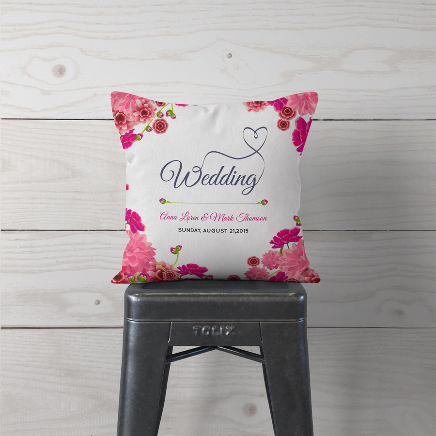 Wedding Anniversary Personalised Cushion FLORAL Wife Hubby Pillow Gift Idea ST39