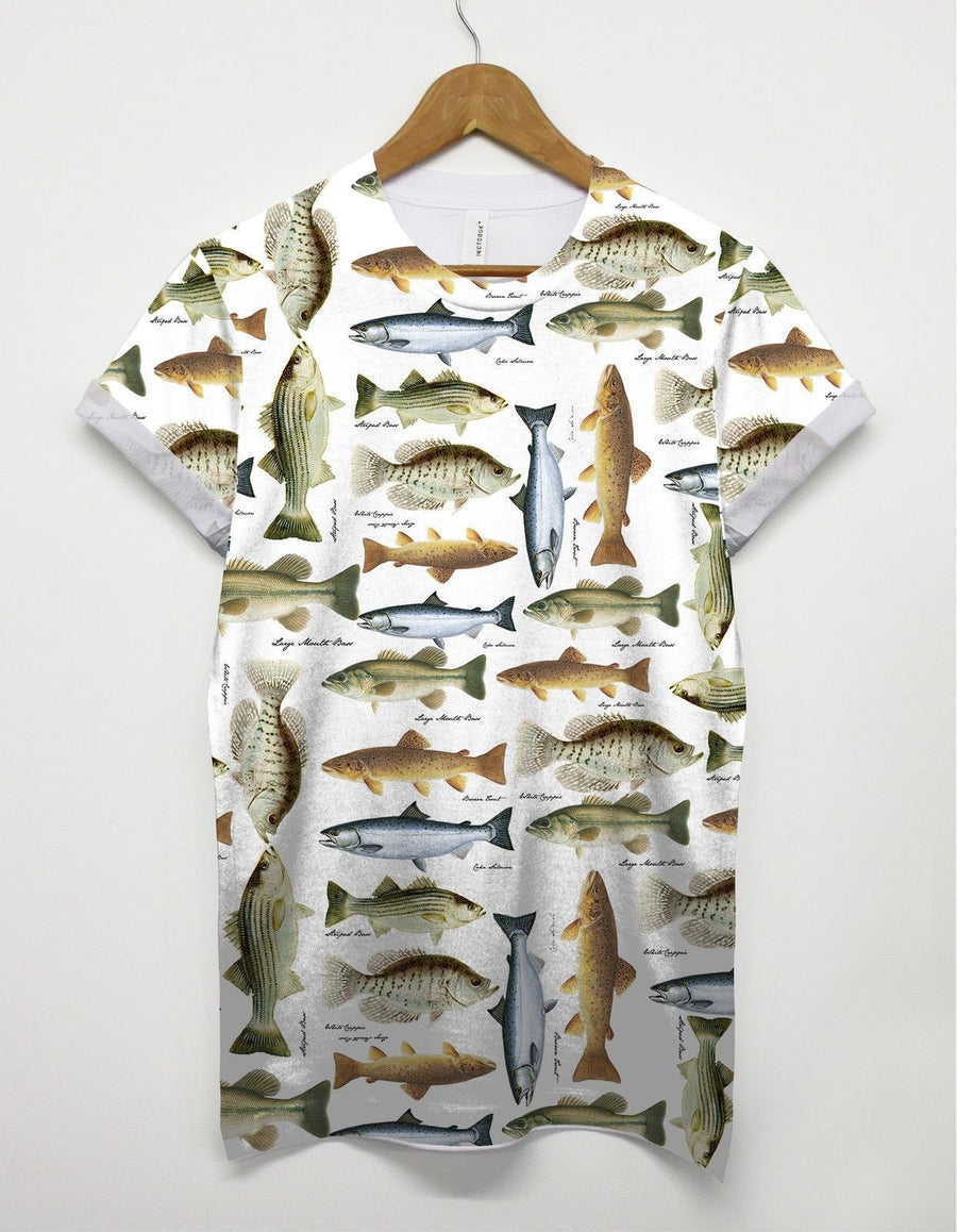 Fish All Over Print T shirt Urban Top Womens Mens Fisherman Indie Catch British