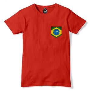 Vintage Print Pocket BRAZIL Flag T Shirt Football Mens Womens Tshirt New Rio 266