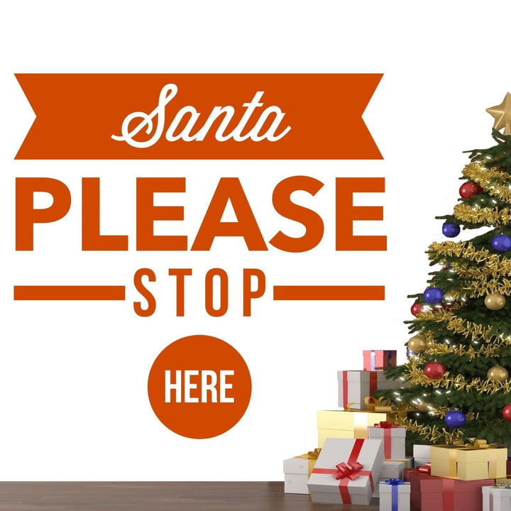 Santa Please Stop Here Christmas Wall Sticker Vinyl Decorations Window Xmas W5