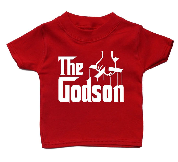 The Godson T Shirt Baby Cute Boy Girl Present Funny Fun Kid Birthday Gift Funky , Main Colour Red