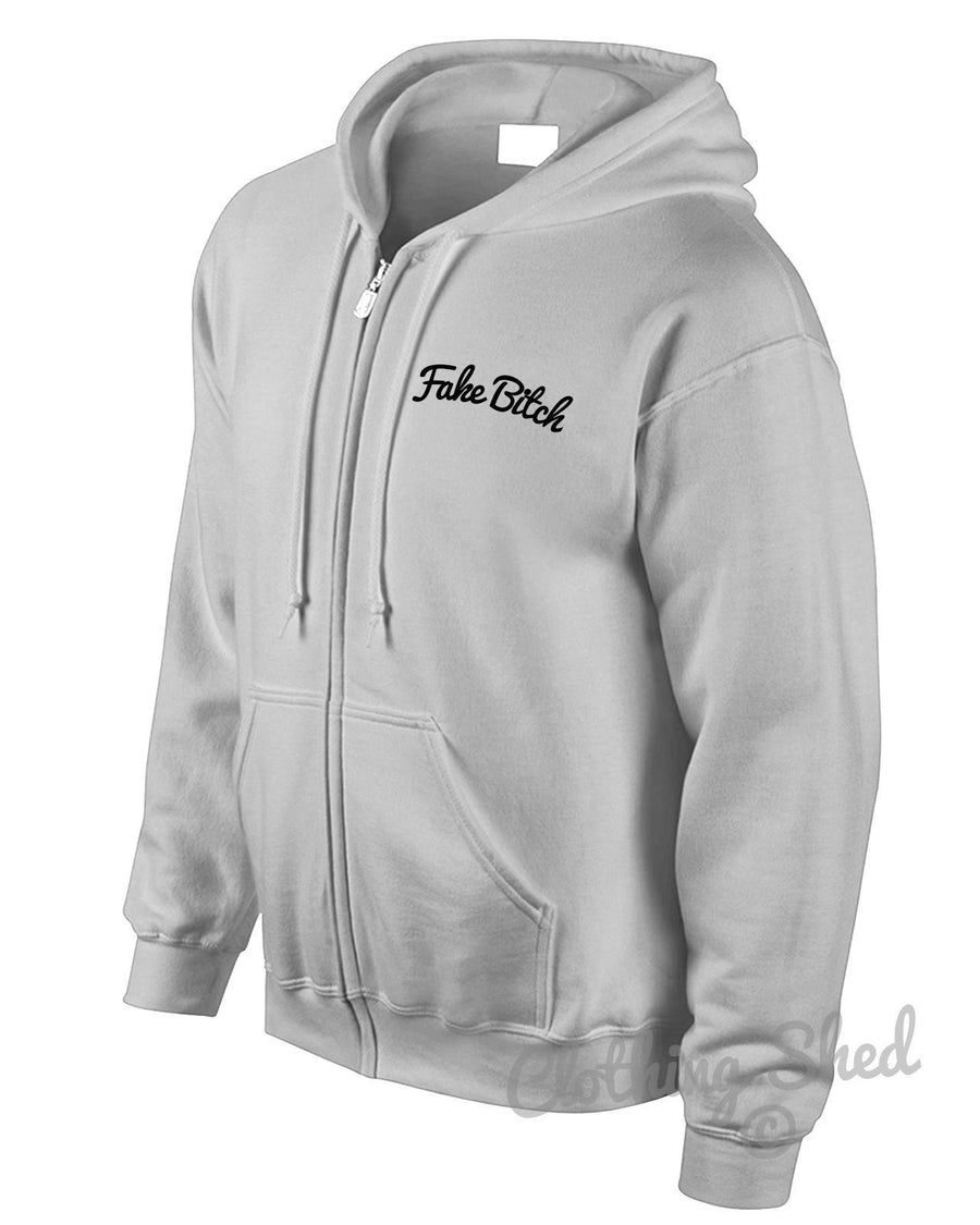 Fake Bitch Zipped Hoody Wasted Hoodie Hipster Gift Swag Mens Street Womens