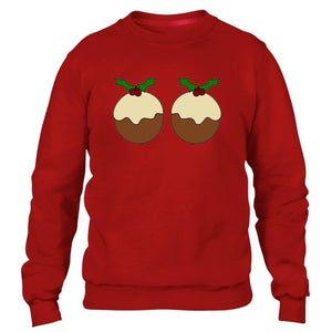 CHRISTMAS PUDDING SWEATER BOOBS FUNNY JUMPER UGLY XMAS PARTY GIFT MEN WOMEN
