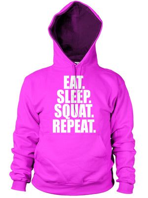 EAT SLEEP SQUAT HOODIE FUNNY LEG DAY EXERCISE TRAINING TOP GYM BODYBUILDER GIFT