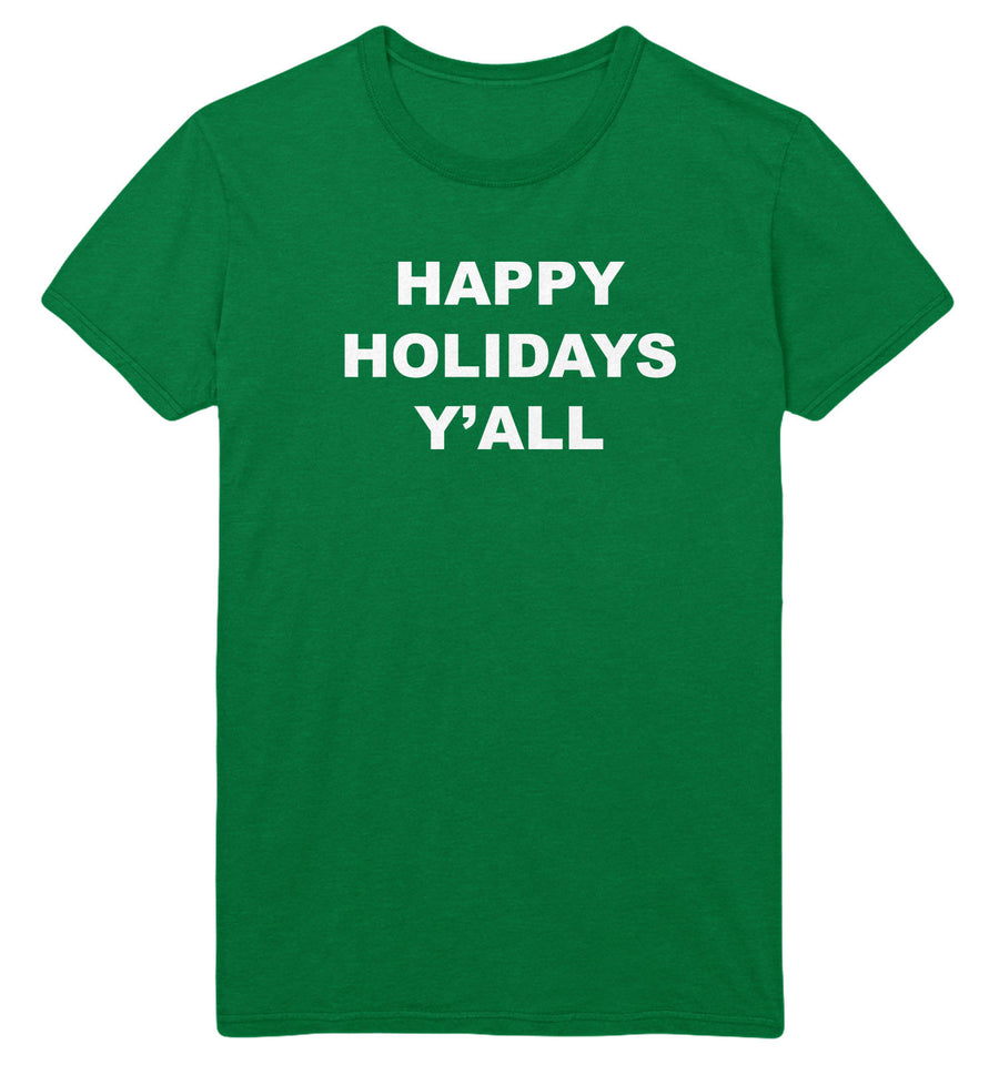 Happy Holidays Y'all T Shirt Christmas USA Thanks Giving Funny Slogan Men Women