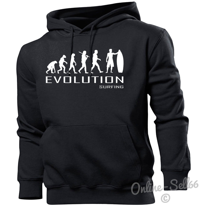 Surfing Evolution Hoodie Mens Womens Kids Hoody Sports Water Holiday Beach Board, Main Colour Black