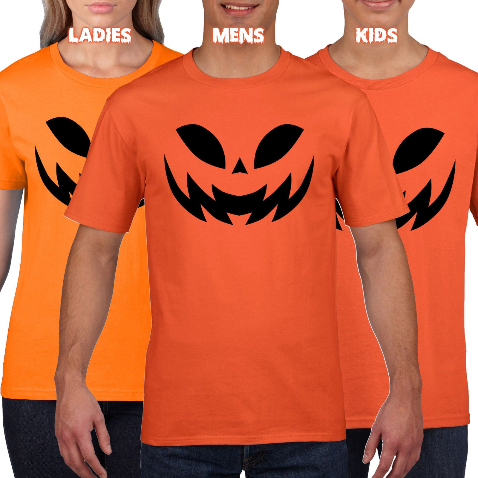Mens Pumpkin Faces Halloween Trick Treat T Shirt