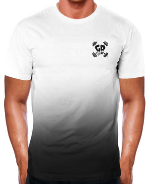 BLACK FADE GET DOWN GYM WEAR T SHIRT DIP DYE CLOTHING BODYBUILDING WORKOUT MEN