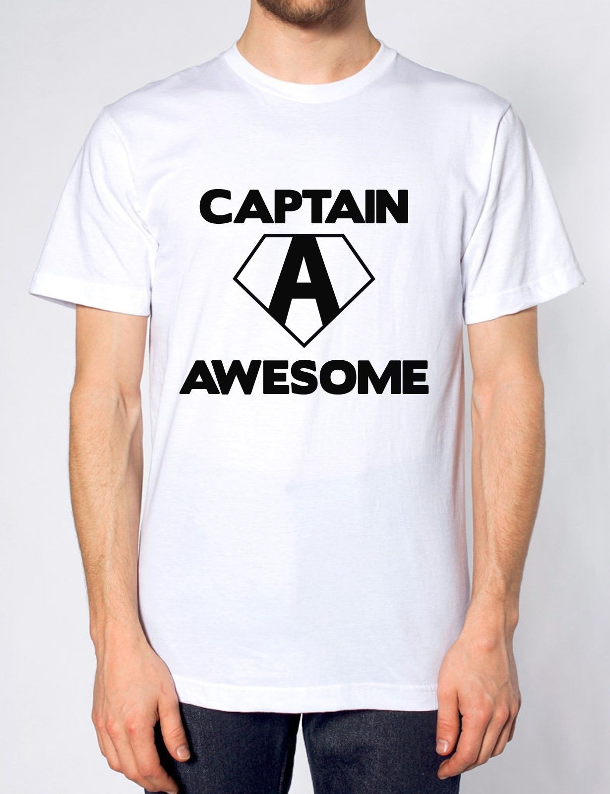 b87e14d4 Captain Awesome Funny Mens America Tshirt Womens Top T Shirt Novelty ...