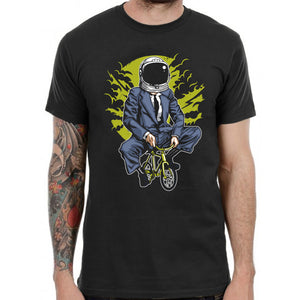 Bike to the Moon T Shirt Graphic Spaceman Funny Punk Rock Band Grunge Tee Vintag