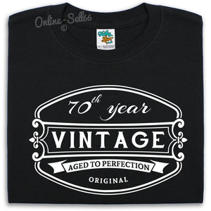 70 th Vintage Birthday Mens T Shirt 71 72 73 74 Great Gift For Him Present Dad, Main Colour Black