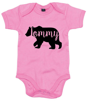 CUSTOM NAME Baby Bear Babygrow Vest Name Announcement Baby Shower Arrival AS14