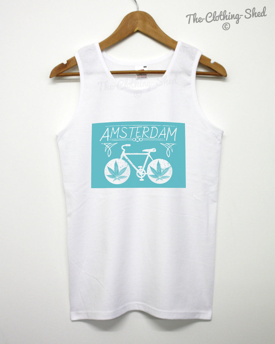 AMSTERDAM BIKE VEST SINGLET MEN WOMEN CANNABIS WEED BICYCLE SMOKE CYCLING
