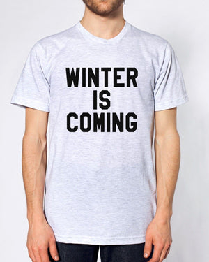 WINTER IS COMING TSHIRT WOMEN MEN KIDS HIPSTER, Main Colour Ash Grey