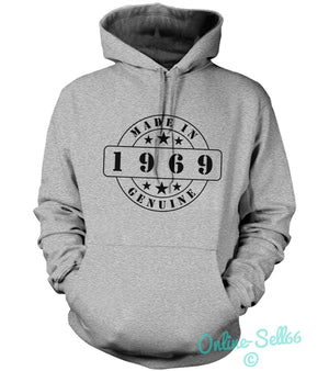 Made In 1969 Genuine Mens Womens Hoodie 45 Original Birthday Gift Funny Present, Main Colour Sport Grey