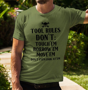 Tool Rules T-Shirt Funny Handyman T Shirt DIY Dad Top Tradesman Gift For L202
