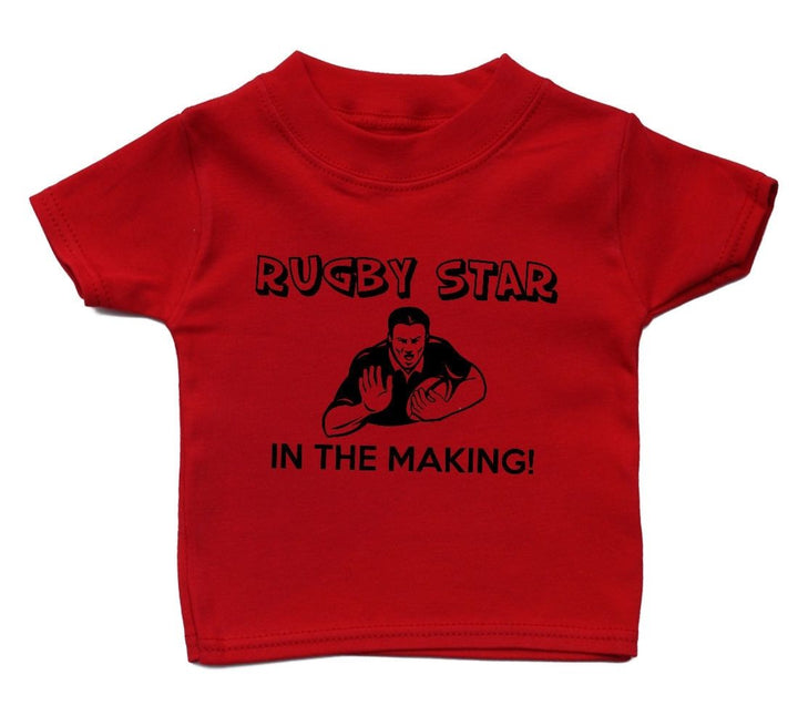 Rugby Star In The Making T Shirt Funny Baby Cute Boy Girl Present Kid Sport Gift, Main Colour Red