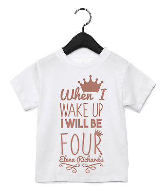 When I Wake Up Birthday Girl T Shirt Top ANY AGE ANY NAME Pyjamas Toddler AS44