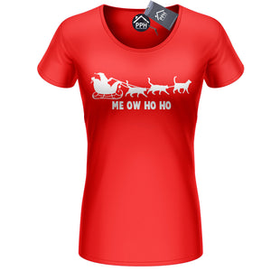 Meow Cat Santa Reindeer T Shirt Funny Kitten Feline Jumper Christmas Top CH39