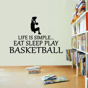 Life Is Simple Baskeball Vinyl Sticker Eat Sleep Decal USA Wall Art Sport Kid