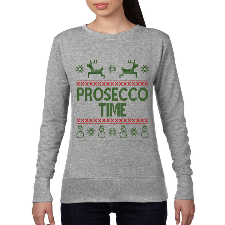 Prosecco Time Fair Isle Christmas Jumper Womens Xmas Sweatshirt Santa Drink CH19