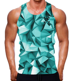 SKY BLUE GEOMETRIC PATTERN MUSCLE FITTED TANK VEST BODYBUILDING CLOTHING MEN