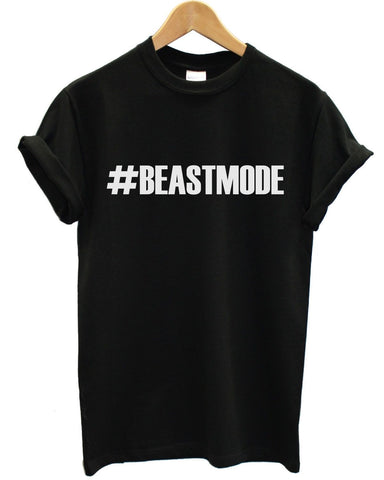 #BEASTMODE T Shirt Gym Train Man Body Builder Woman Sport Exercise Summer Top, Main Colour Black