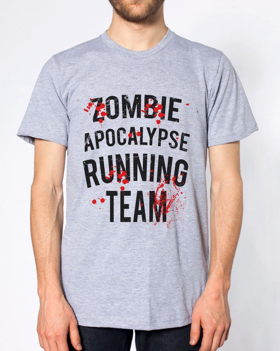 ZOMBIE APOCALYPSE RUNNING TEAM T SHIRT FUNNY DEAD MEN WALKING BRAINS MEN WOMEN