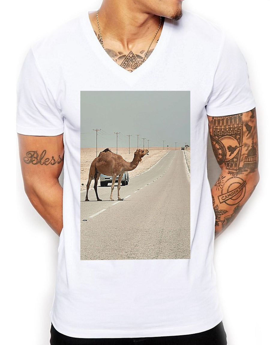 Bump In The Road Distinkt Youth V Neck T Shirt Top Mens Fitted Summer EDY11