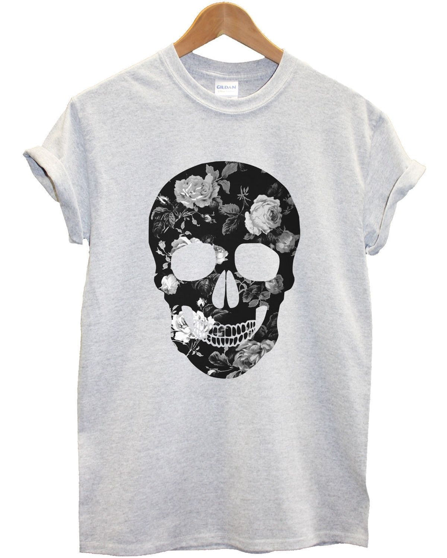 B&W Floral Skull T Shirt Pattern Grey Top Skeleton Head Urban Streetwear Men Boy
