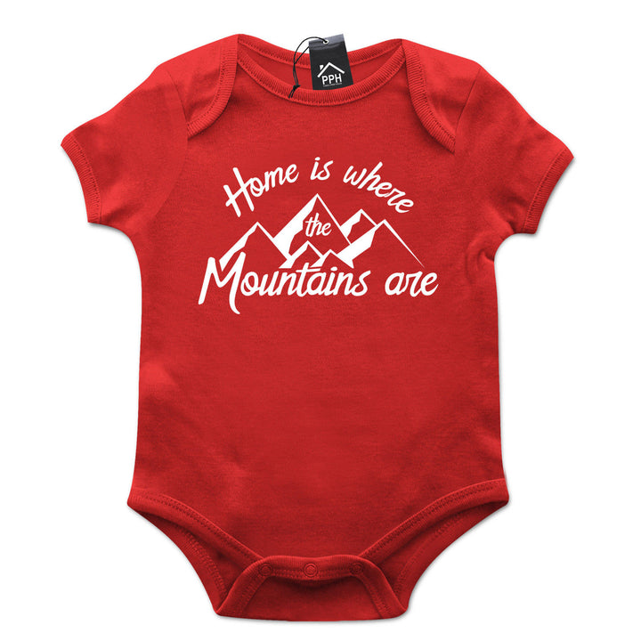 Home is where Mountains Are Ski Babygrow Gift Baby Grow Newborn Snowboard 493