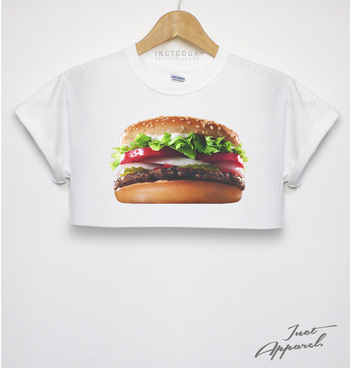 BURGER CROP TOP T SHIRT KING STREETWEAR HIPSTER GIRLS WOMEN FASHION DOPE GOOD