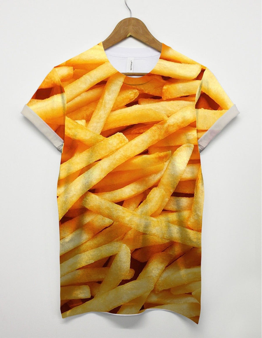 Fries All Over Print T shirt Lad Mens Top Swag Indie Funny Food USA Chips Fat