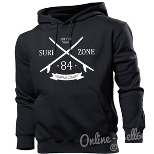 Surf Zone Hawaii Coast Mens Surfing Hoodie Womens Top Summer Board Hoodie , Main Colour Black