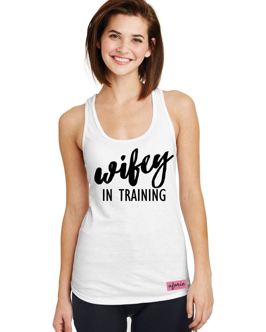 Wifey In Training WHITE Womens Gym Vest Racer Work Out Exercise Fitness U46