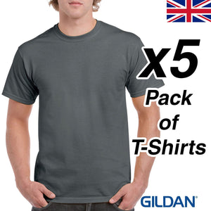 Mens Charcoal T Shirt 5 Pack Gildan Heavy Cotton Tee Plain Cheap Work Dark Grey