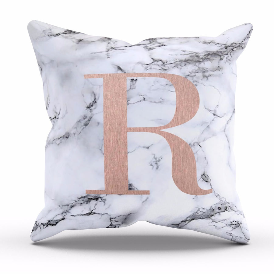 Personalised Marble Cushion With Initials Letter Mineral Texture Square Cover