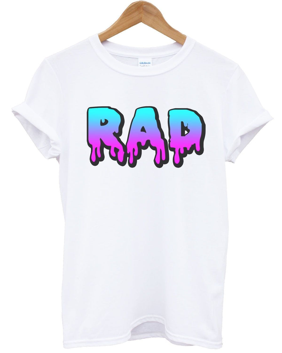 Rad Slime T Shirt Font 80's 90's Fashion Top Surf Radical Dude Men Women Awesome