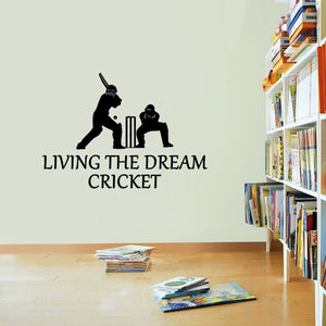 Cricket Living The Dream Cricketer Bat Wall Sticker Vinyl Print Decal Art Wall