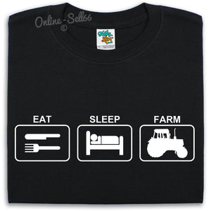 Eat Sleep Farm T Shirt Mens Womens Kids Tractor Fields Animals Farmer Farming, Main Colour Black